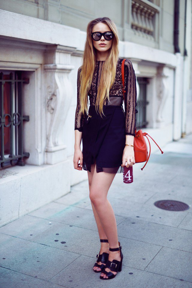 Lace Shirt with Wrap Skirt