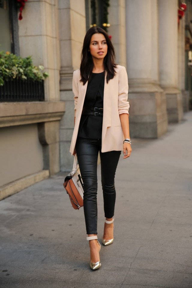 Light Pink Blazer with Leather Pants