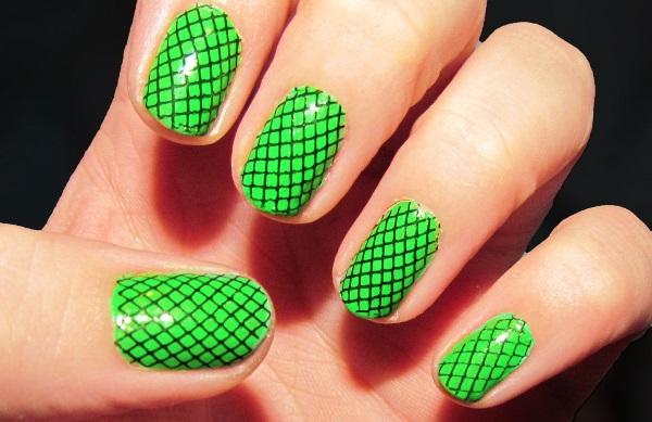 Lime Green Fishnet Nail Design