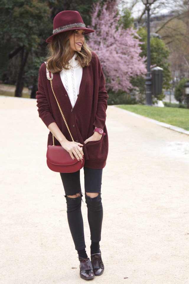 Maroon Cardigan with Ripped Jeans