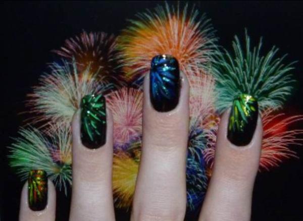 Metallic Fireworks Nails