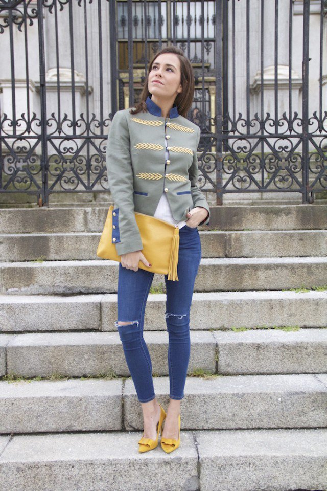 Nautical Blazer with Ripped Jeans