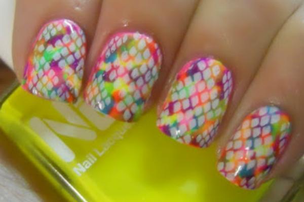 Neon Snakeskin Nails