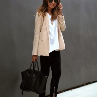 Nude Blazer with Black Jeans