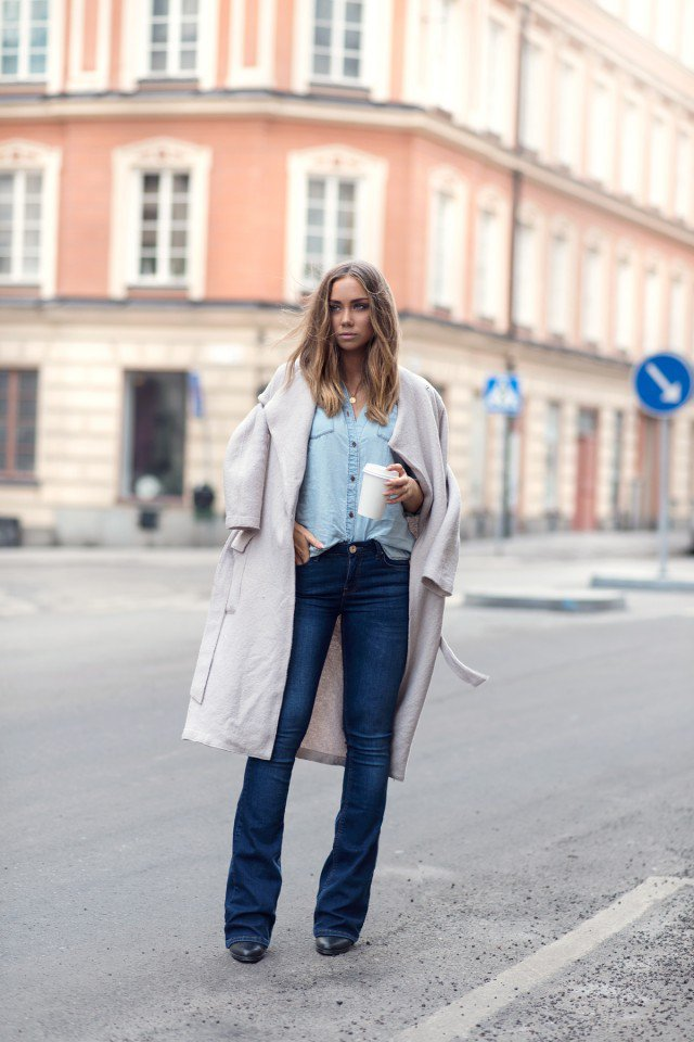 Nude Coat with Flared Jeans