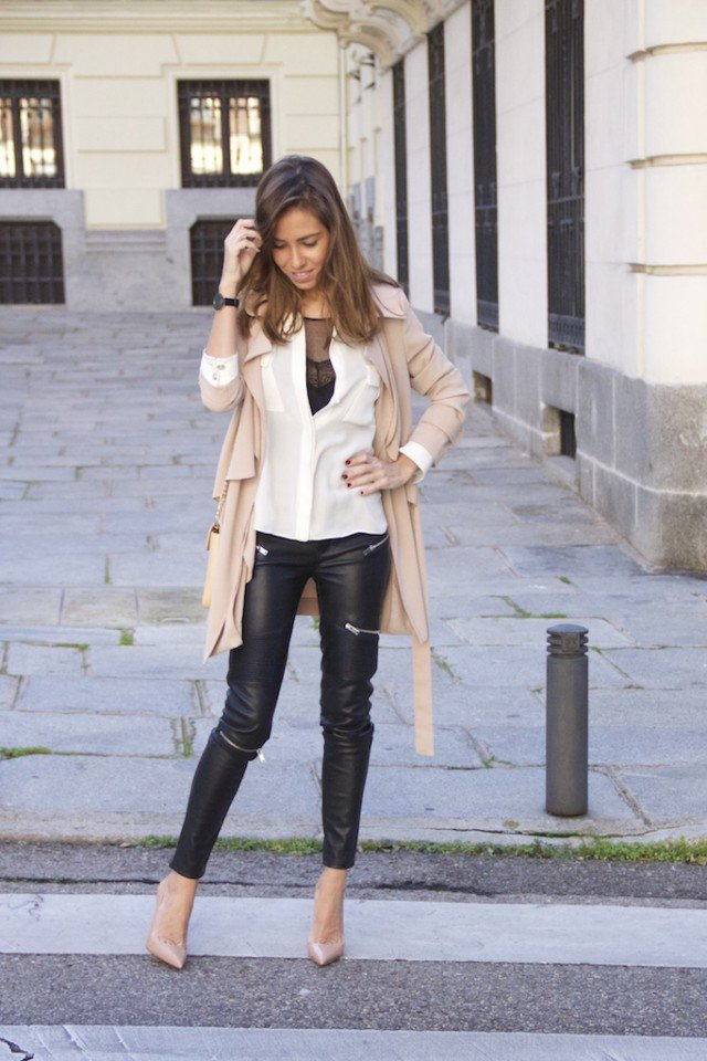 Nude Coat with Leather Pants