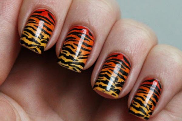 Ombre Tiger Print Nails
