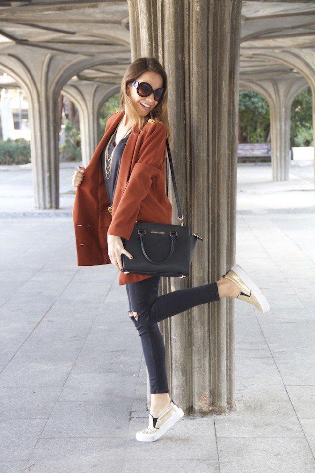Orange Blazer with Black Jeans