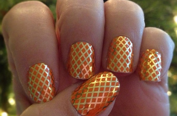 Orange Fishnet Nail Design