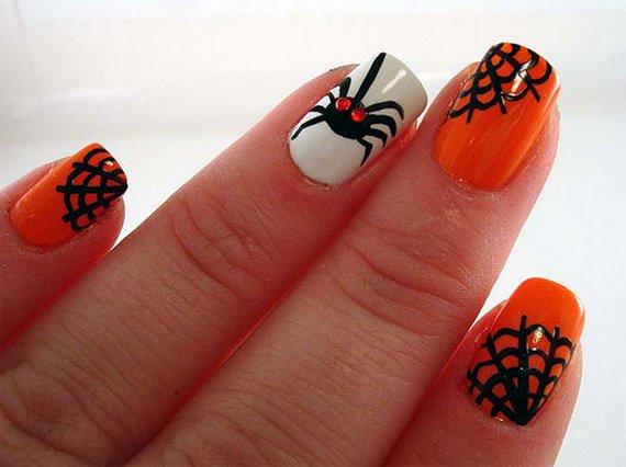 Orange Halloween Nail Design