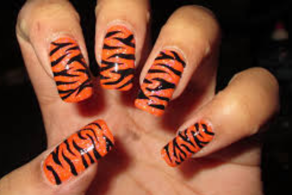 Orange Tiger Print Nails
