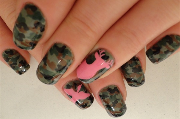 Pink Camouflage Nail Design - 13 Pretty Camouflage Nail Designs - Pretty Designs