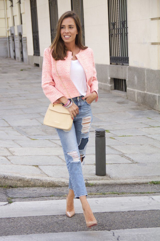 Pink Coat with Ripped Jeans