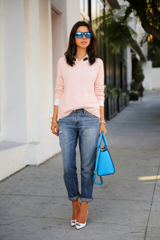 Pink Sweater with Boyfriend Jeans