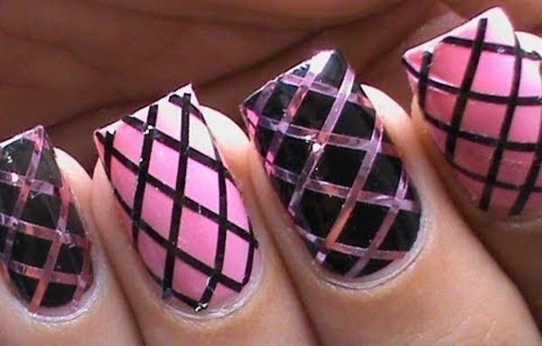 Pink and Black Fishnet Nail Design