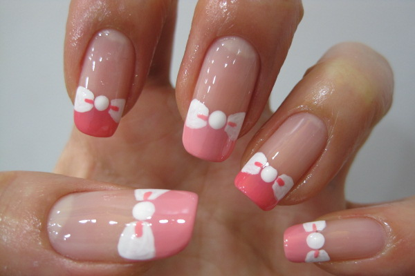 Pink and White Bow Nails - 17 Cute Bow Nail Designs - Pretty Designs