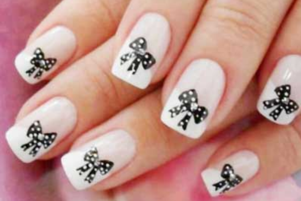 Polka Dot Bow Nails - 17 Cute Bow Nail Designs - Pretty Designs
