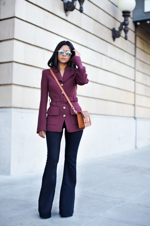 Purple Coat with Flared Jeans