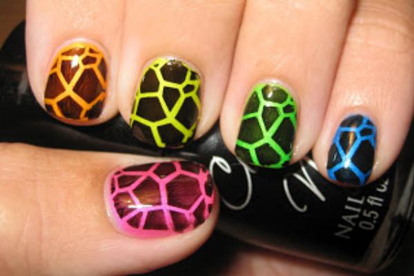 Rainbow Giraffe Print Nails