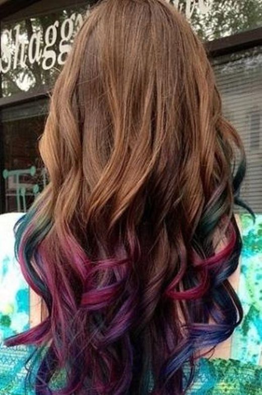 Rainbow Ombre Hair Color Idea