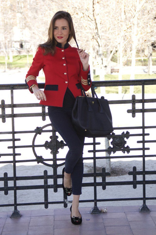 Red Blazer with Black Jeans