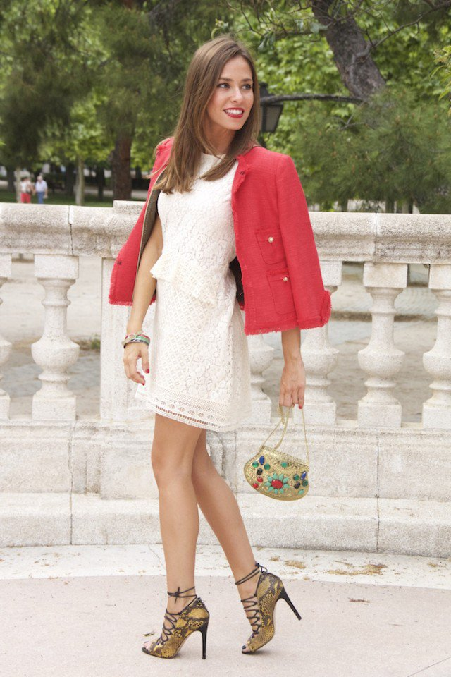 Red Blazer with White Dress