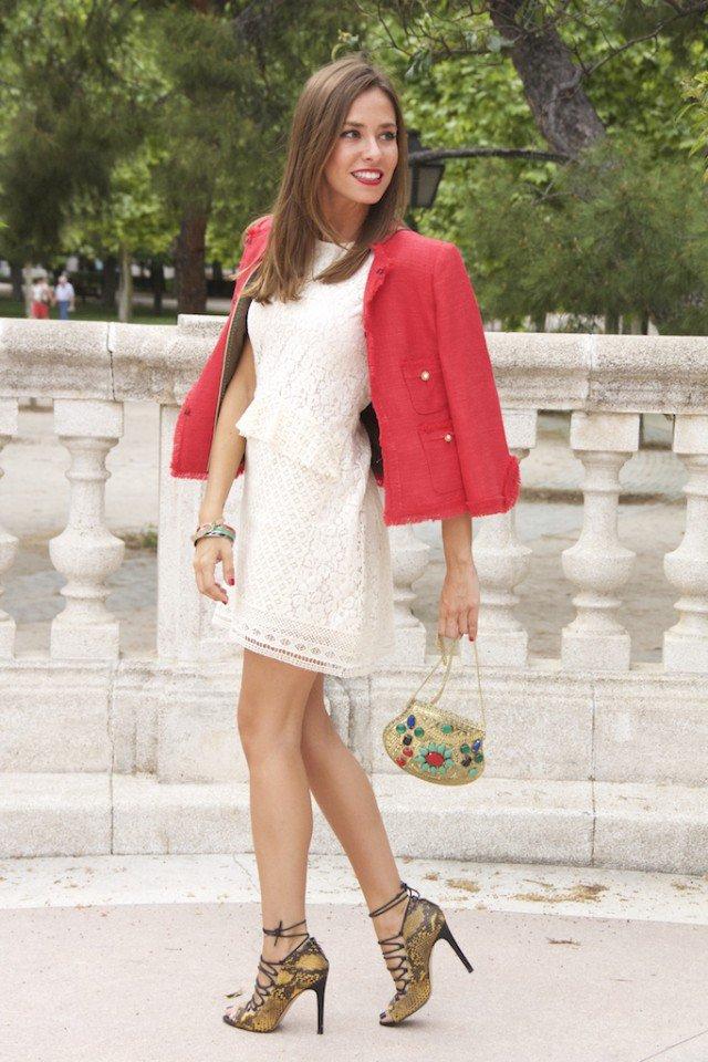 Red Blazer with White Dress