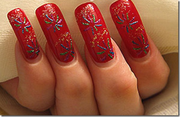 Red Fireworks Nails