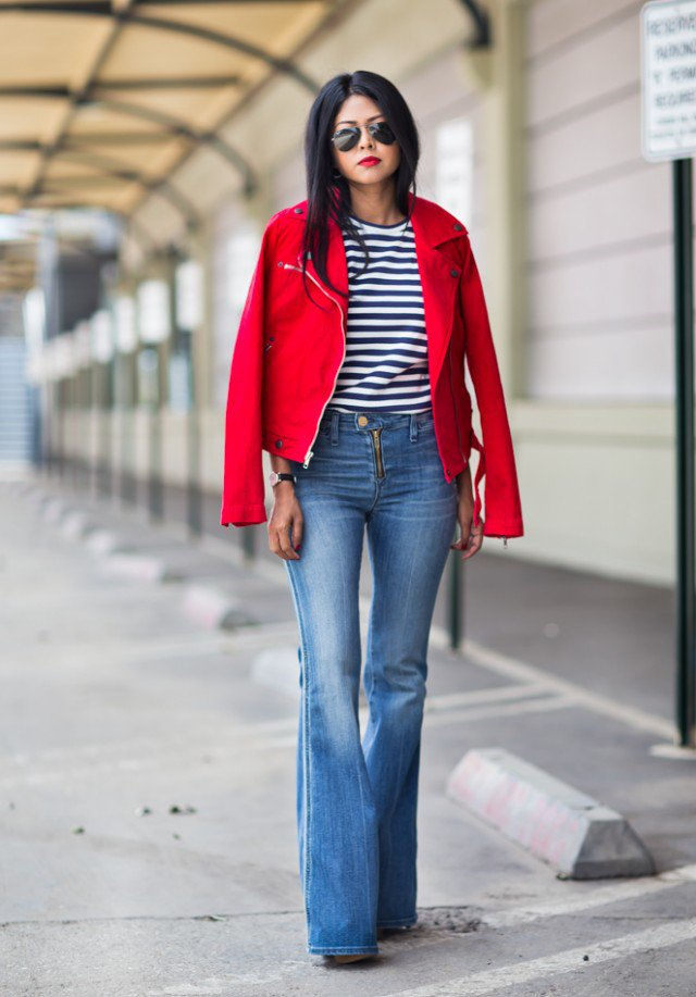 Red Jacket with Flared Jeans