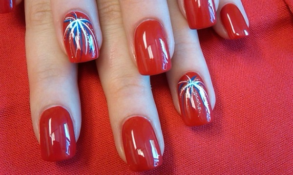Red Nails With Fireworks