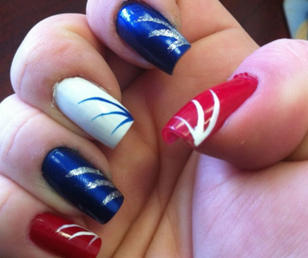 Red, White, and Blue 4th of July Nails