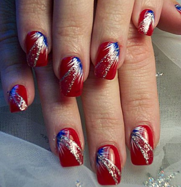 23 terrific fireworks nail designs pretty designs red white and blue fireworks nails prinsesfo Images