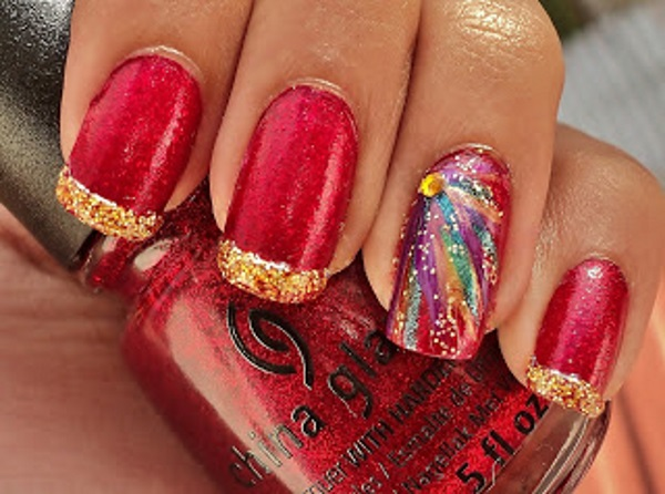 Red and Gold Fireworks Nails