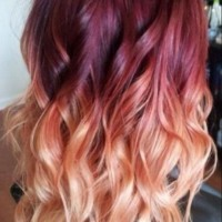 Red to Blond Ombre Hair Color Idea