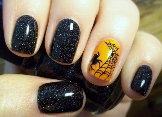 Shimmery Halloween Nail Design