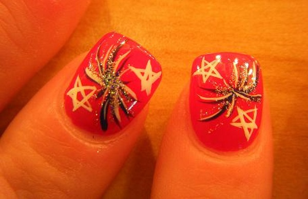 Stars and Fireworks Nails