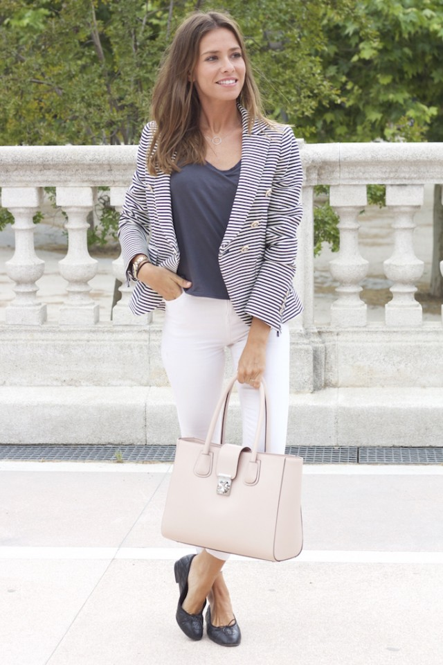 Striped Blazer with White Pants