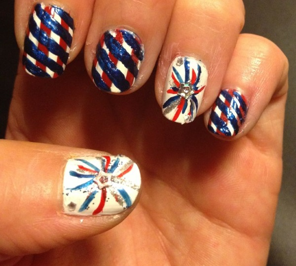 23 terrific fireworks nail designs pretty designs striped fourth of july nails prinsesfo Choice Image