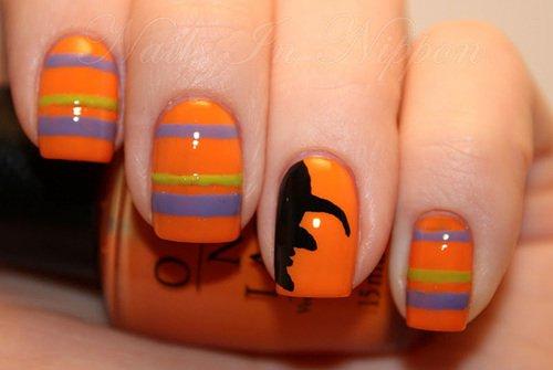 Striped Halloween Nail Design