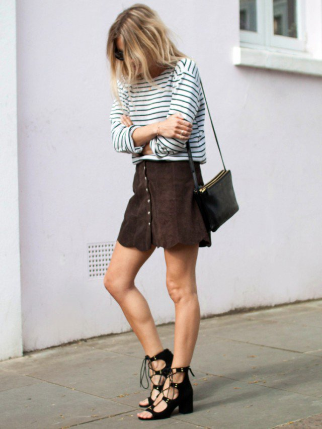 Striped Shirt with Suede Button Down Skirt