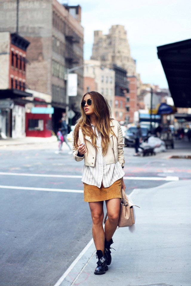 Striped Shirt with Suede Skirt