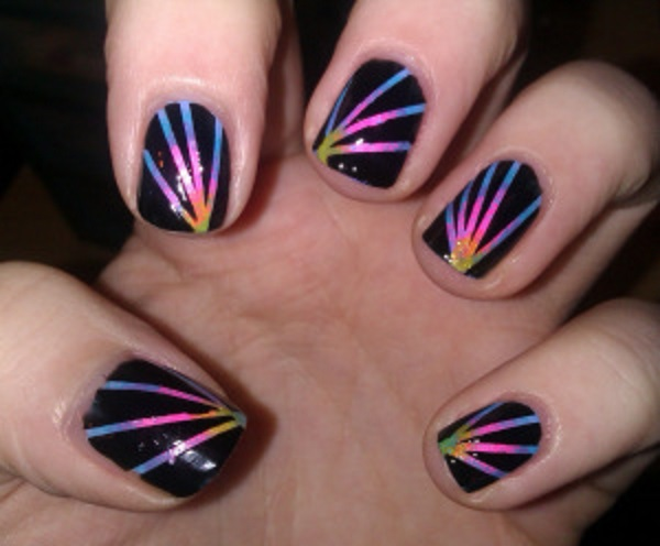 Striping Tape Fireworks Nails
