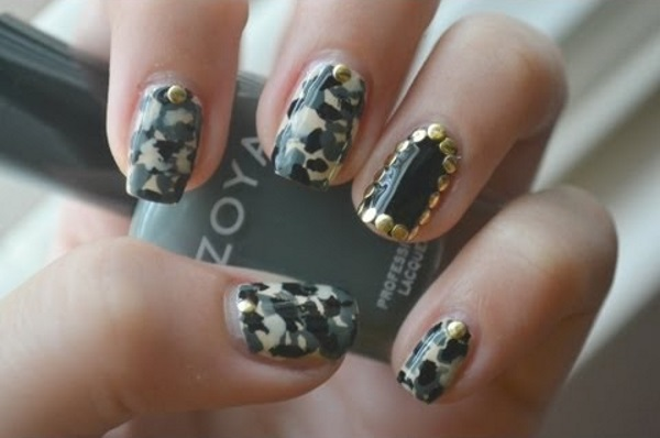 Studded Camouflage Nail Design - 13 Pretty Camouflage Nail Designs - Pretty Designs