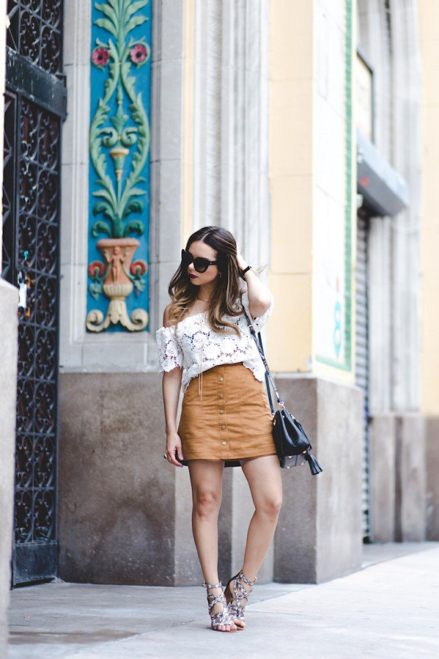 Suede Button-Down Skirt with Lace Top
