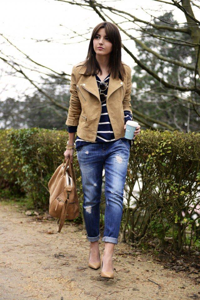Suede Jacket with Boyfriend Jeans