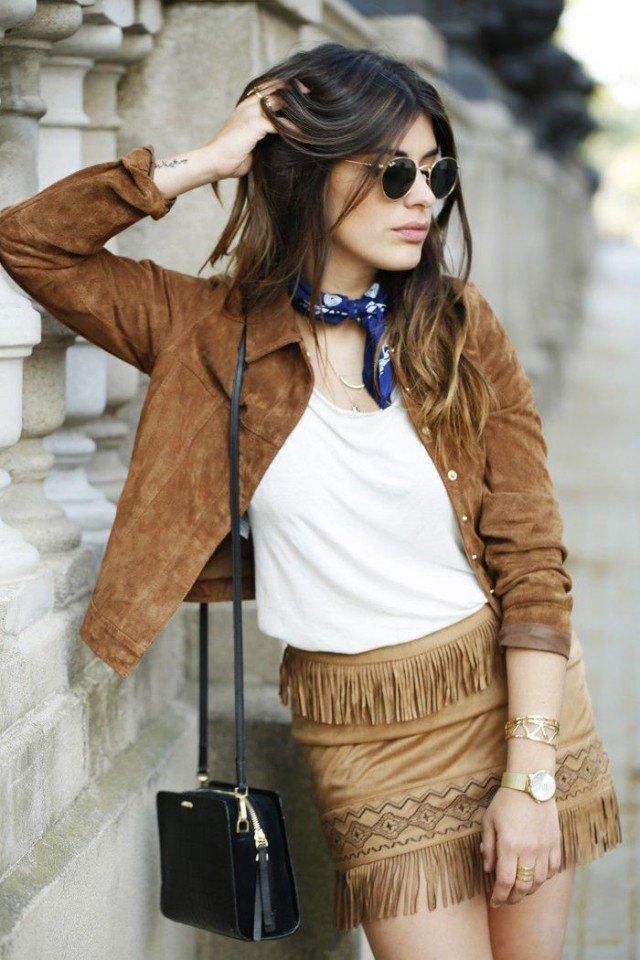 Suede Jacket with Fringe Skirt