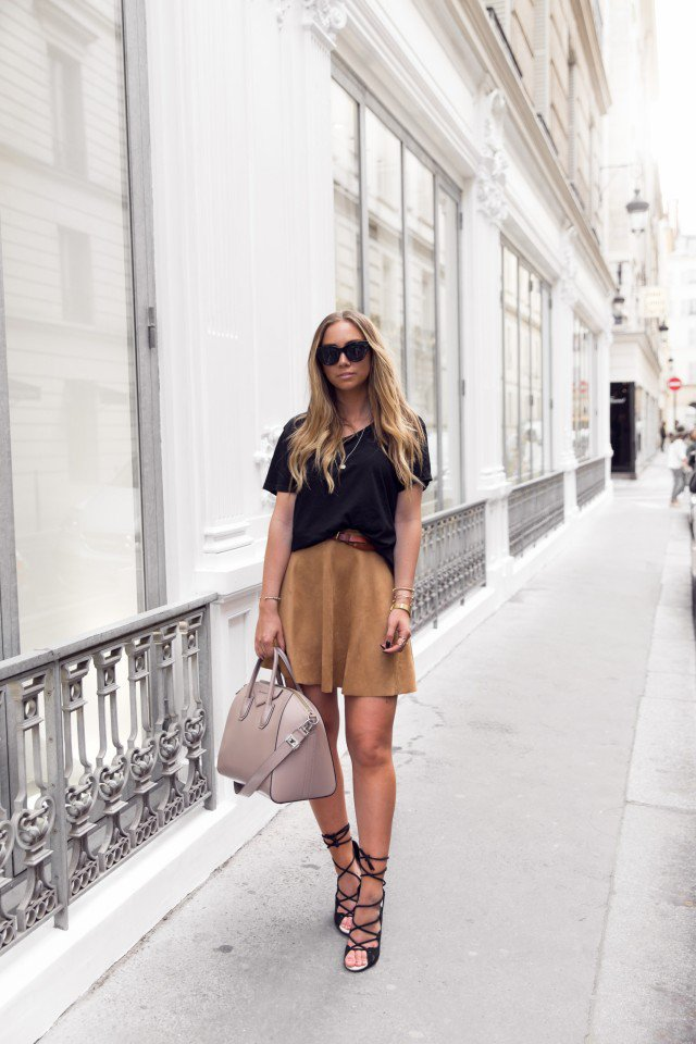 Suede Skirt with Black Top