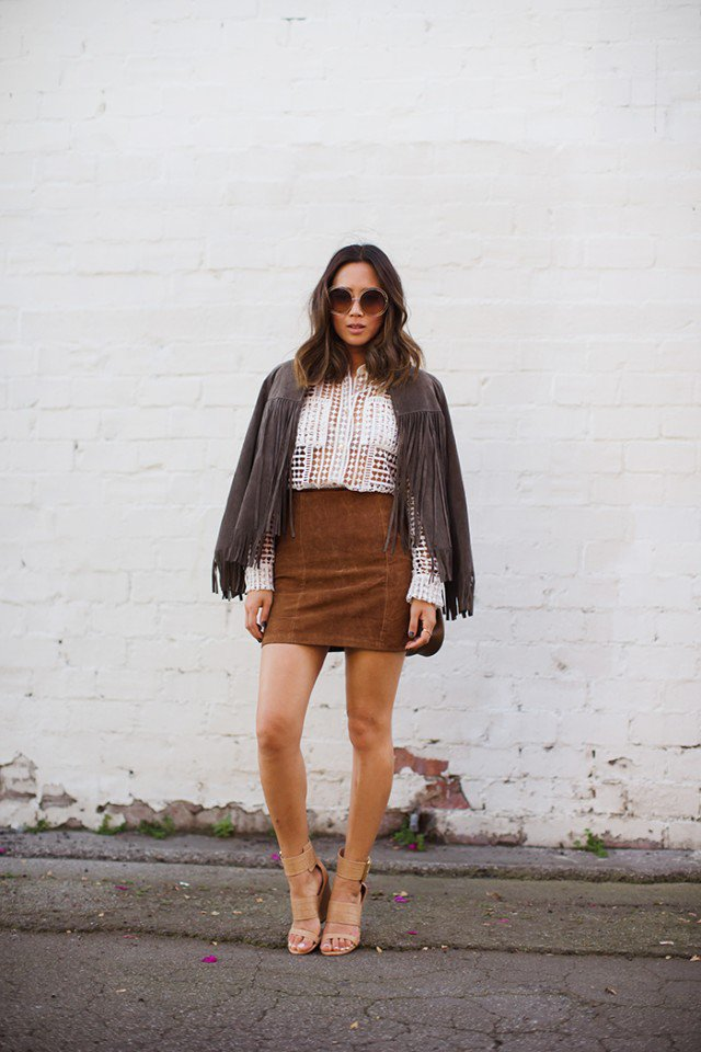 Suede Skirt with Fringe Shawl