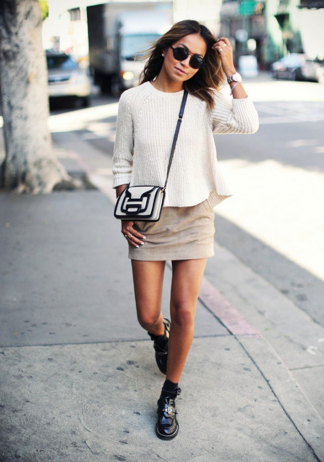 Suede Skirt with Sweater