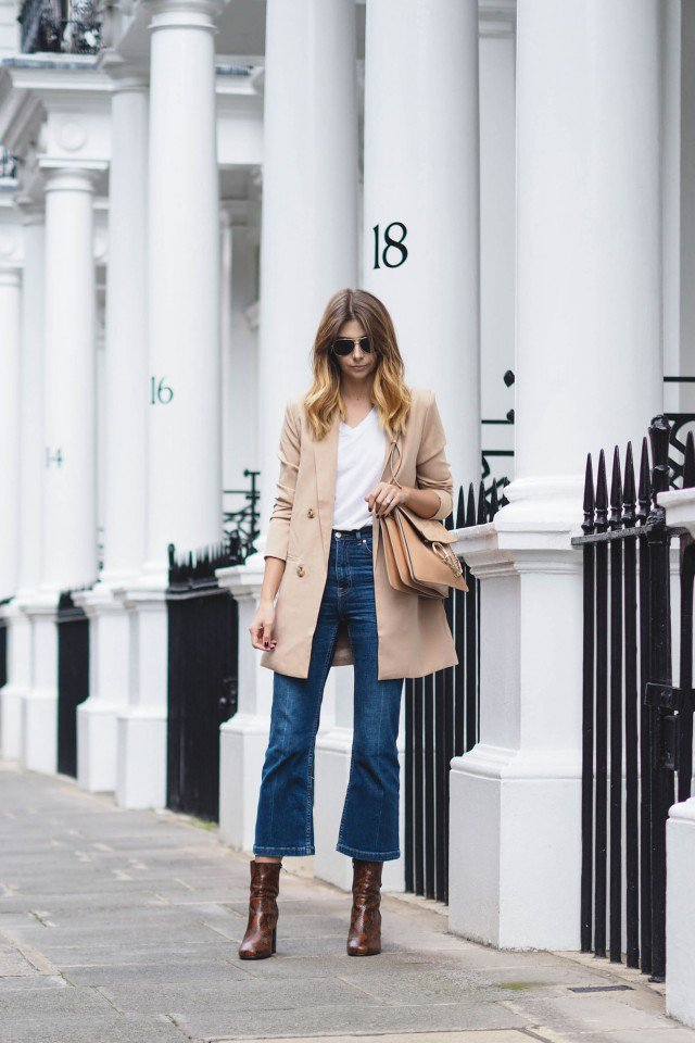 Trench Coat with Flared Jeans